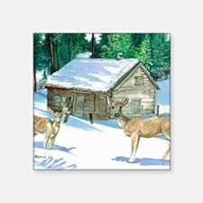 """Winter Cabin Square Sticker 3"""" x 3"""""""