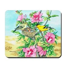 Goldfinch - Rose of Sharon Mousepad