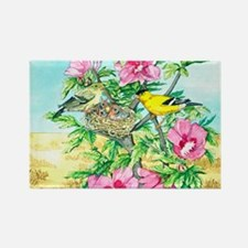 Goldfinch - Rose of Sharon Rectangle Magnet