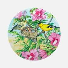 Goldfinch - Rose of Sharon Round Ornament
