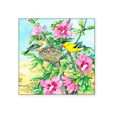 """Goldfinch - Rose of Sharon Square Sticker 3"""" x 3"""""""