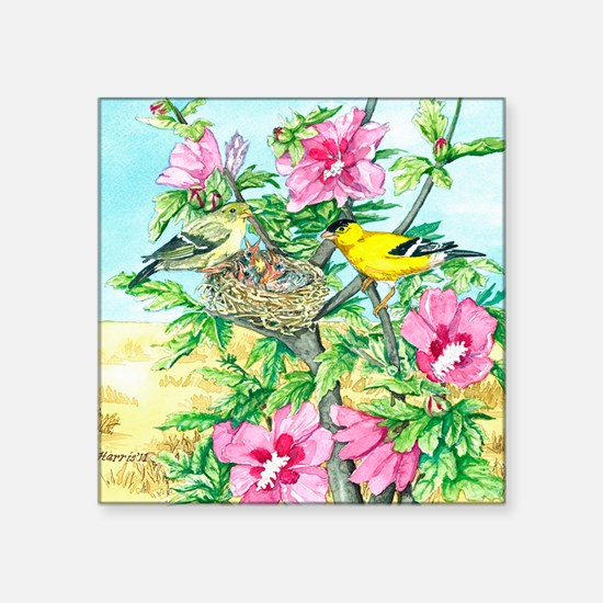 "Goldfinch - Rose of Sharon Square Sticker 3"" x 3"""