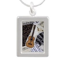 guitar-classical-ornamen Silver Portrait Necklace
