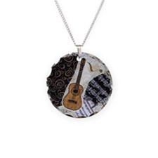 guitar-classical-ornament Necklace Circle Charm