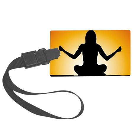 Woman Meditating at Sunrise Large Luggage Tag