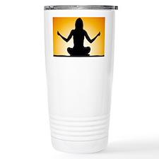 Woman Meditating at Sunrise Travel Mug