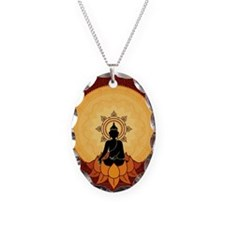 Serene Buddha Artwork Necklace Oval Charm