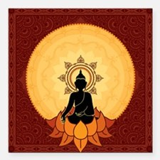"Serene Buddha Artwork Square Car Magnet 3"" x 3"""
