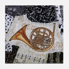 french-horn-ornament Tile Coaster