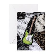 guitar-green-strat-ornament Greeting Card