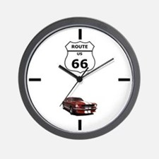 Mustang route 66 large clock cp Wall Clock