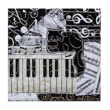 keyboard-sitting-cat-ornament Tile Coaster
