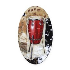 red-conga-drum-ornament Oval Car Magnet