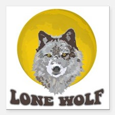 "Lone Wolf Square Car Magnet 3"" x 3"""