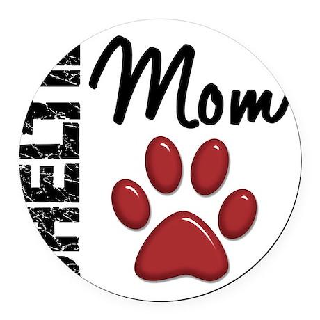 D Sheltie Mom 2 Round Car Magnet