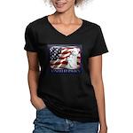 Westie US Flag Patriotic Women V-Neck Dark T-Shirt