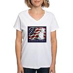 Westie US Flag Patriotic Women's V-Neck T-Shirt