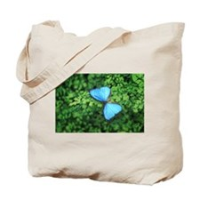 Blue Butterfly On Green Leaves Tote Bag