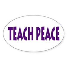 Teach PEACE Oval Sticker -purple