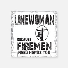 "lineman because 3 Square Sticker 3"" x 3"""