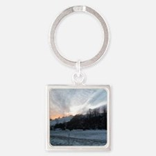Sunset on Snowy Hills Square Keychain