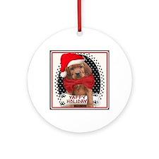Irish Setter Christmas Puppy Tiles Round Ornament