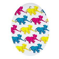 elephant_tug_keych_1 Oval Ornament