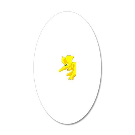 elephant_tug_keych_YellB 20x12 Oval Wall Decal