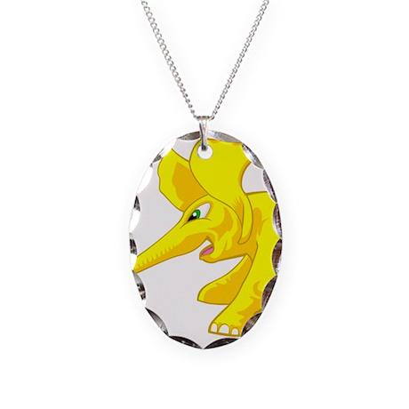 elephant_tug_keych_YellB Necklace Oval Charm