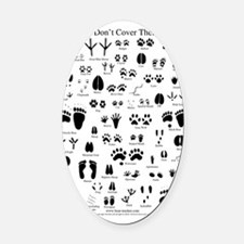 animal tracks poster 8 5 by 11 Oval Car Magnet