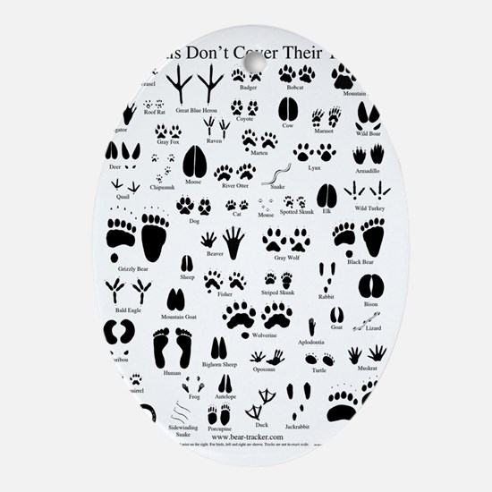 animal tracks poster 8 5 by 11 Oval Ornament