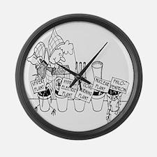 3277_plant_cartoon Large Wall Clock