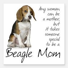 """Beagle Mom Square Car Magnet 3"""" x 3"""""""