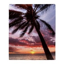 maui hawaii coconut palm tree sunset Throw Blanket