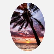 maui hawaii coconut palm tree sunset Oval Ornament