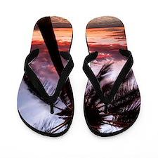 maui hawaii coconut palm tree sunset Flip Flops