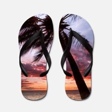 maui hawaii coconut palm tree sunset Flip Flops