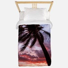 maui hawaii coconut palm tree sunset Twin Duvet