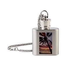 maui hawaii coconut palm tree sunse Flask Necklace