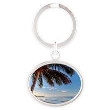 Maui Paradise Beach Hawaii 3 Oval Keychain