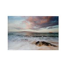 big beach waves sunrise Rectangle Magnet