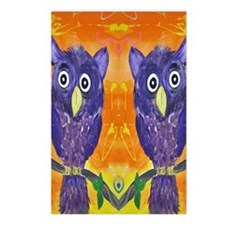 Purple Owls Postcards (Package of 8)