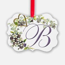 heart with flowers letter B Ornament