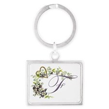 heart with flowers letter F Landscape Keychain