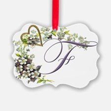heart with flowers letter F Ornament