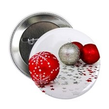 """Red and Silver Christmas 2.25"""" Button"""
