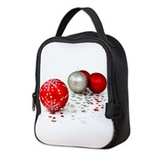 Red and Silver Christmas Neoprene Lunch Bag