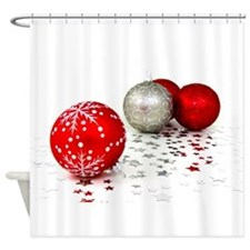 Red and Silver Christmas Shower Curtain