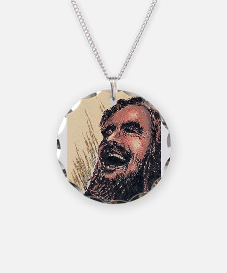 Laughing_Jesus Necklace Circle Charm