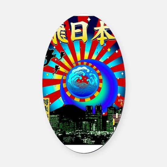 FLY_JAPAN_CARD Oval Car Magnet